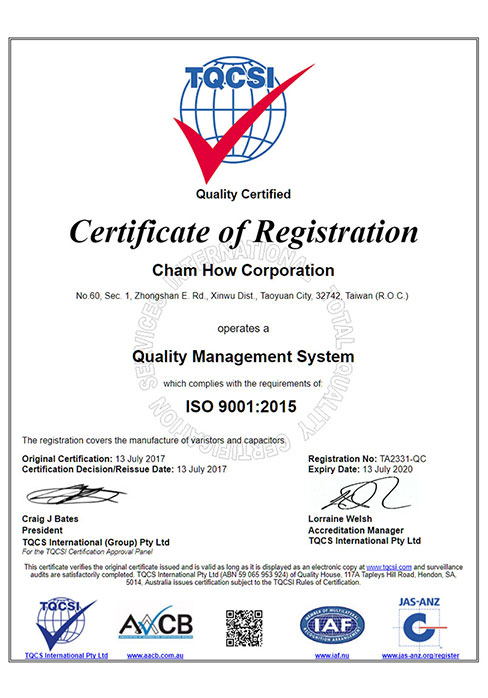 Cham How Corporation- Varistor Manufacturer in Taiwan